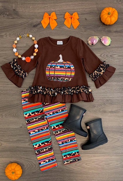 Cheetah Serape Pumpkin Pant Set - orangeshine.com