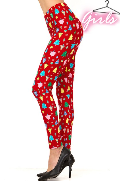 KIDS CHRISTMAS PRINT LEGGINGS - orangeshine.com