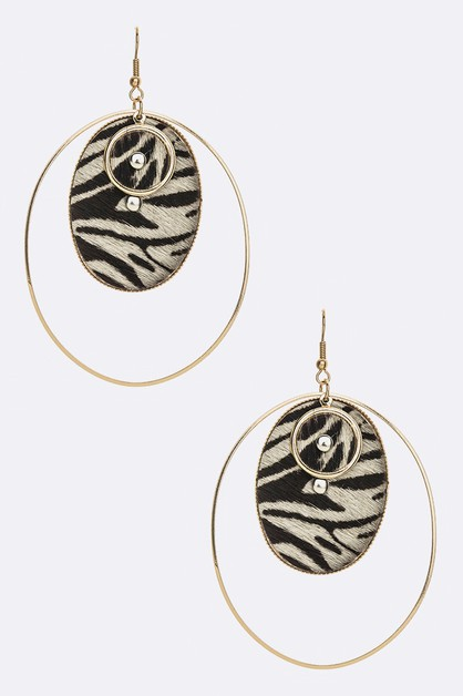 Animal Print Oval Drop Earrings - orangeshine.com