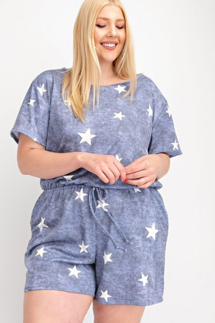 FRENCH TERRY STAR PRINT PLUS SIZE RO - orangeshine.com