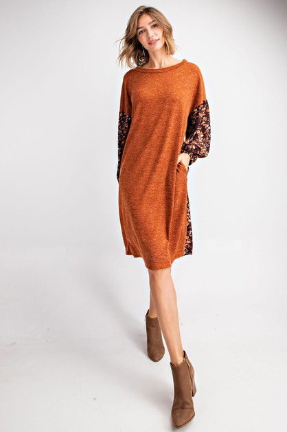 DUO FABRIC BUBBLE SLEEVE DRESS WITH  - orangeshine.com