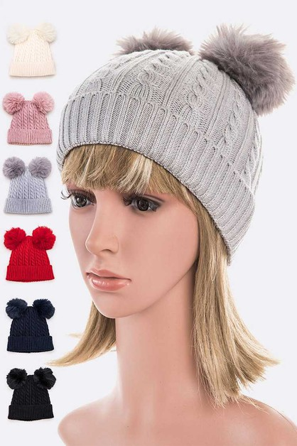 Double Fur Pom Cable Knit Beanie Set - orangeshine.com