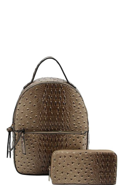 CUTE CROCO TEXTURED BACKPACK - orangeshine.com