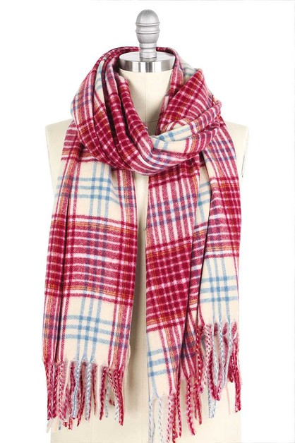 STYLISH PLAID BRUSHED OBLONG SCARF - orangeshine.com