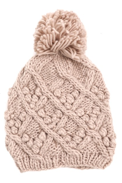 Cable Knit Pom Beanie - orangeshine.com