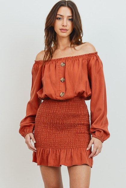 Off Shoulder Tencel Dress - orangeshine.com