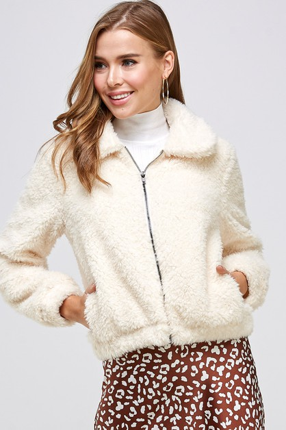 SOFT FAUX FUR JACKET WITH LINING - orangeshine.com