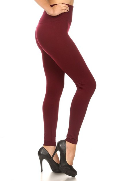 High Waist Slimming Fleece Leggings  - orangeshine.com