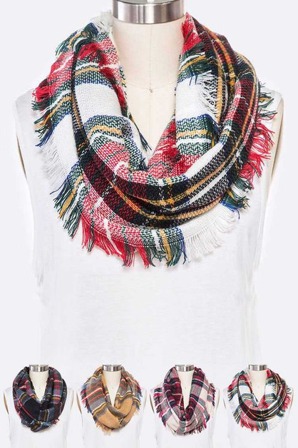 Mad For Plaid Fringe Infinity Scarf  - orangeshine.com