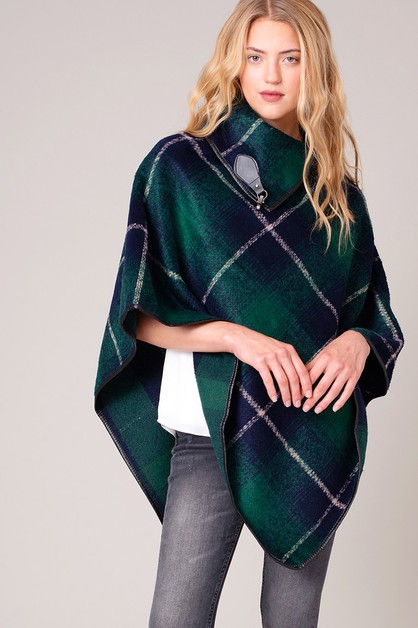 Buckled Collar Plaid Print Poncho - orangeshine.com