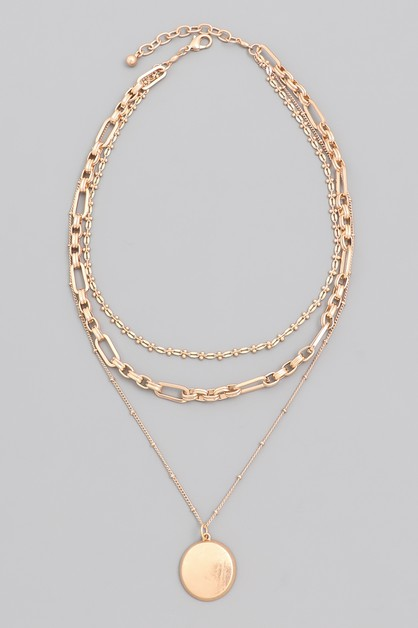 Chain Layered Disc Necklace - orangeshine.com