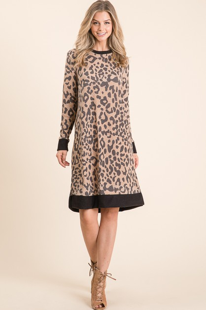 LONG SLEEVE LEOPARD DRESS  - orangeshine.com