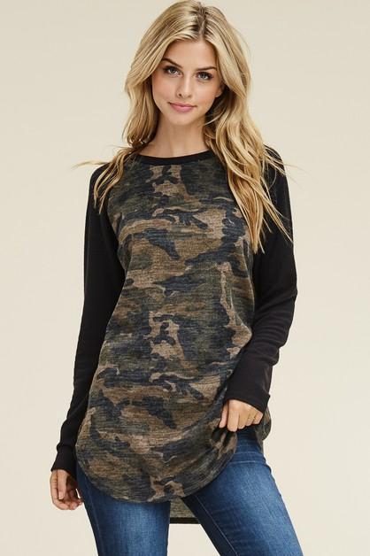 LONG SLEEVE RAGLAN CAMOUFLAGE TOP - orangeshine.com