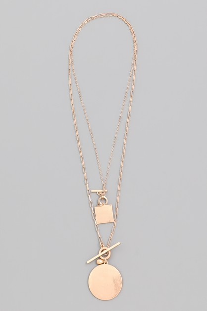 Layered Toggle Chain Disc Necklace - orangeshine.com