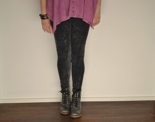 Black Acid Wash Leggings - orangeshine.com