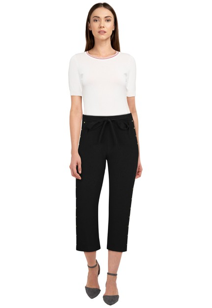 Black Waist Tie Pants - orangeshine.com