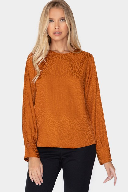 LEOPARD JACQUARD LONG SLEEVE BLOUSE - orangeshine.com