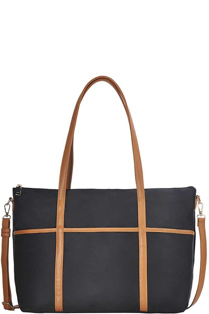 STYLISH STRAP TRIM OVER SIZE SATCHEL - orangeshine.com