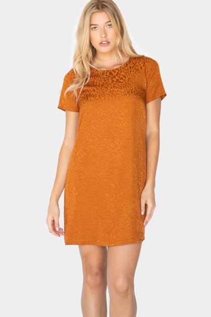 LEOPARD JACQUARD SHORT SLEEVE DRESS - orangeshine.com