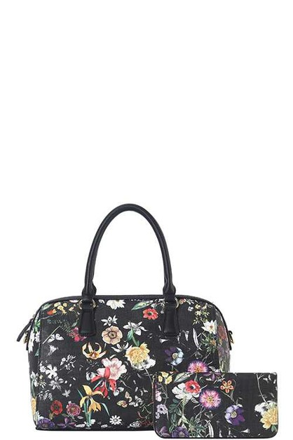 DESIGNER 2 IN 1 FLORAL BOSTON BAG S - orangeshine.com