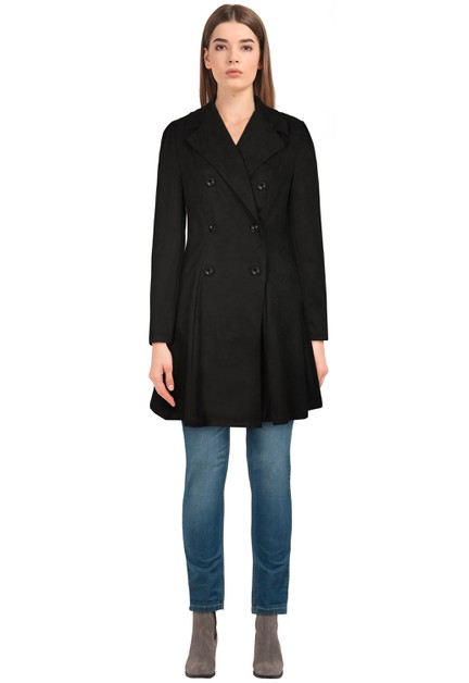 Plus Size Black Suede Trench Coat - orangeshine.com
