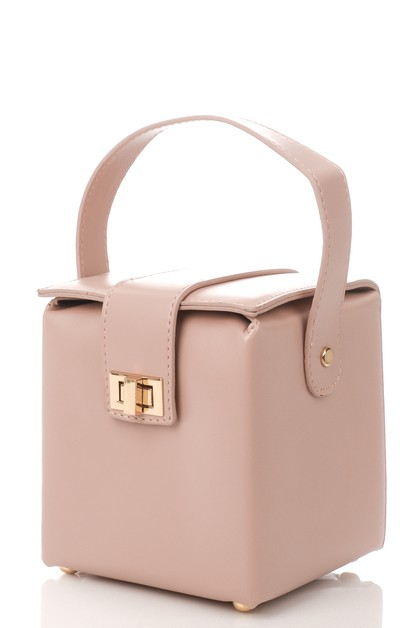 Faux Leather Cube Handbag - orangeshine.com
