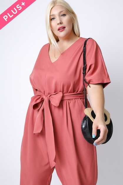 PLUS SIZE SOLID BASIC V-NECK JUMPSUI - orangeshine.com