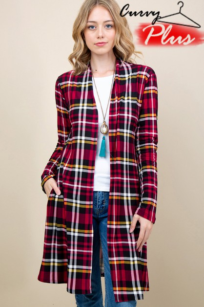 PLAID PRINT OPEN FRONT LONG CARDIGAN - orangeshine.com