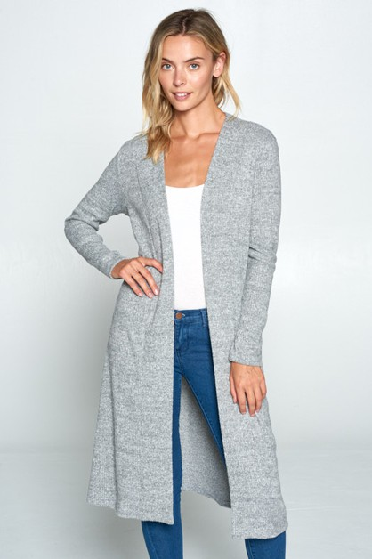 Soft Long Sleeve Ribbed Cardigan - orangeshine.com