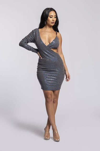 Asymmetric disco ball dress - orangeshine.com