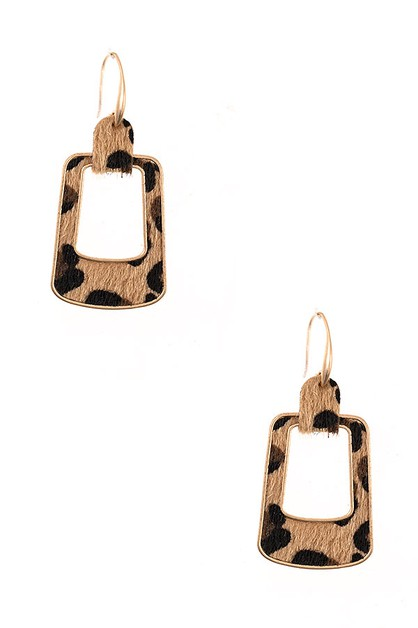 ANIMAL PRINT RECTANGLE EARRING - orangeshine.com
