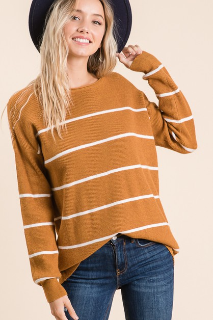 Soft Stripe Sweater Pullover - orangeshine.com