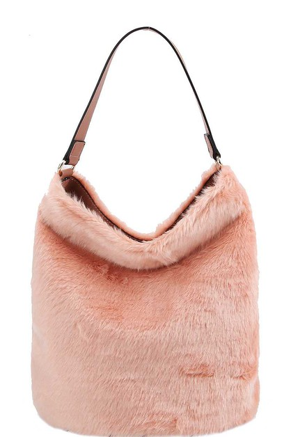 FAUX FUR SOFT ANIMAL HOBO BAG - orangeshine.com