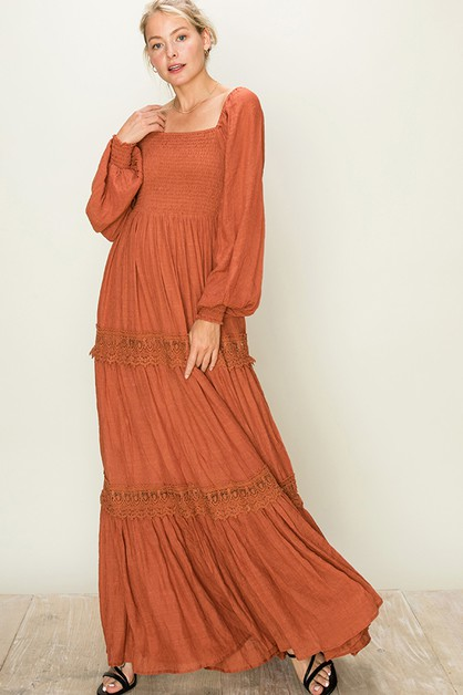 TIER MAXI DRESS WITH SMOCK TOP - orangeshine.com