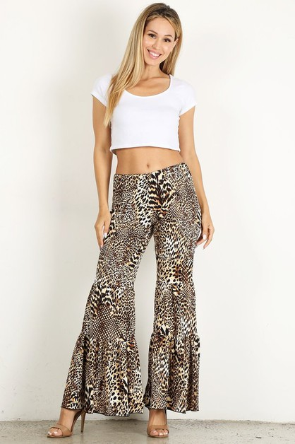 leopard high waist bell bottom - orangeshine.com