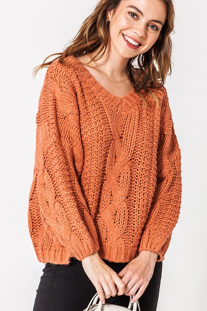 OVER SIZED KNIT SWEATER - orangeshine.com