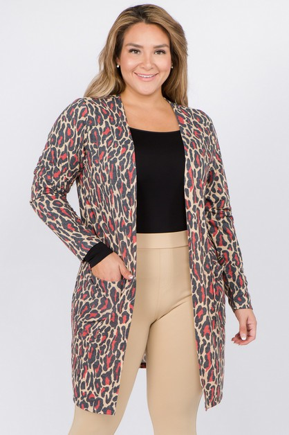 Leopard Print Cardigan with Pockets - orangeshine.com