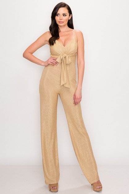 METALLIC FRONT BOW JUMPSUIT - orangeshine.com