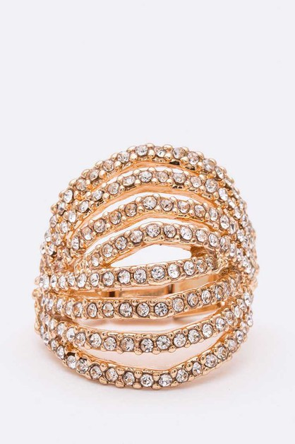 Crystal Cutout Stretch Fashion Ring - orangeshine.com