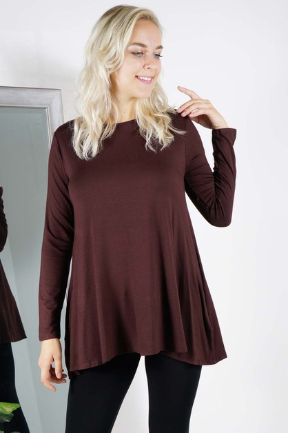 Side Pocket Long Sleeve Tunic - orangeshine.com