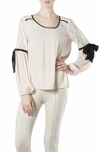 RTA5263 LACE BLOUSE WITH RIBBON - orangeshine.com