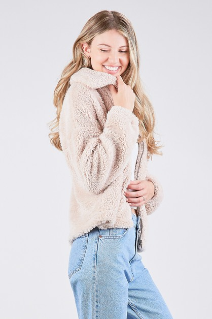 SOFT FAUX FUR JACKET  - orangeshine.com