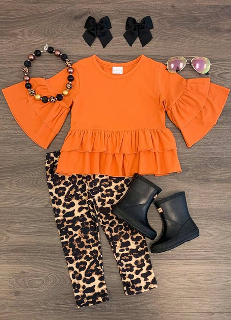 Rust Orange Top Cheetah Pant Set - orangeshine.com