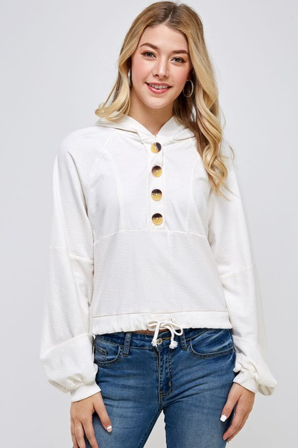 Button down bubble slv crop hoodie - orangeshine.com