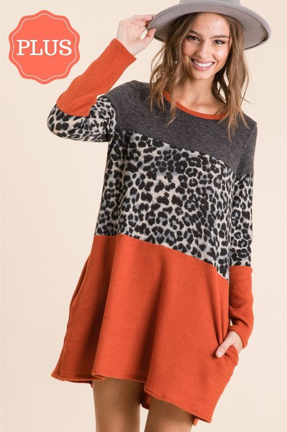 RUST COLORBLOCK LEOPARD MINI DRESS - orangeshine.com