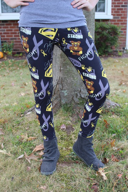 Girls Childhood Cancer Leggings S-M - orangeshine.com