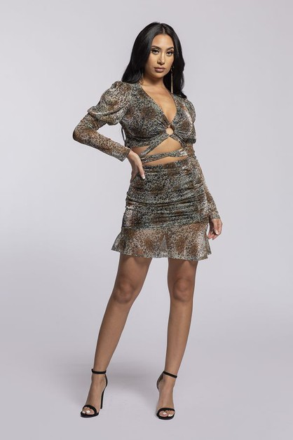 long slv v neck 2-piece set mini dress - orangeshine.com