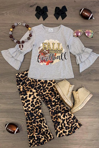 Fall Means Football Cheetah Bell set - orangeshine.com