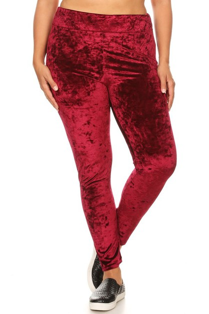 Plus Size Crushed Velvet Leggings - orangeshine.com
