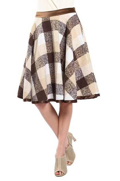 RS8216 PLAID A LINE MIDI SKIRT  - orangeshine.com